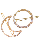 2PCs Moon Round Hair Clip for Women Girl Hair Barrettes Hair Pins with C... - ₹446.34 INR