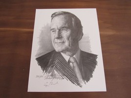 GEORGE H.W. BUSH BARBARA BUSH SIGNED AUTO PORTRAITS BY ARTIST MICHAEL RE... - $989.99