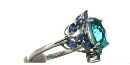 Ladies Size 7.25 Sterling Silver Blue Green Tourmaline Ring No. 2155 image 6
