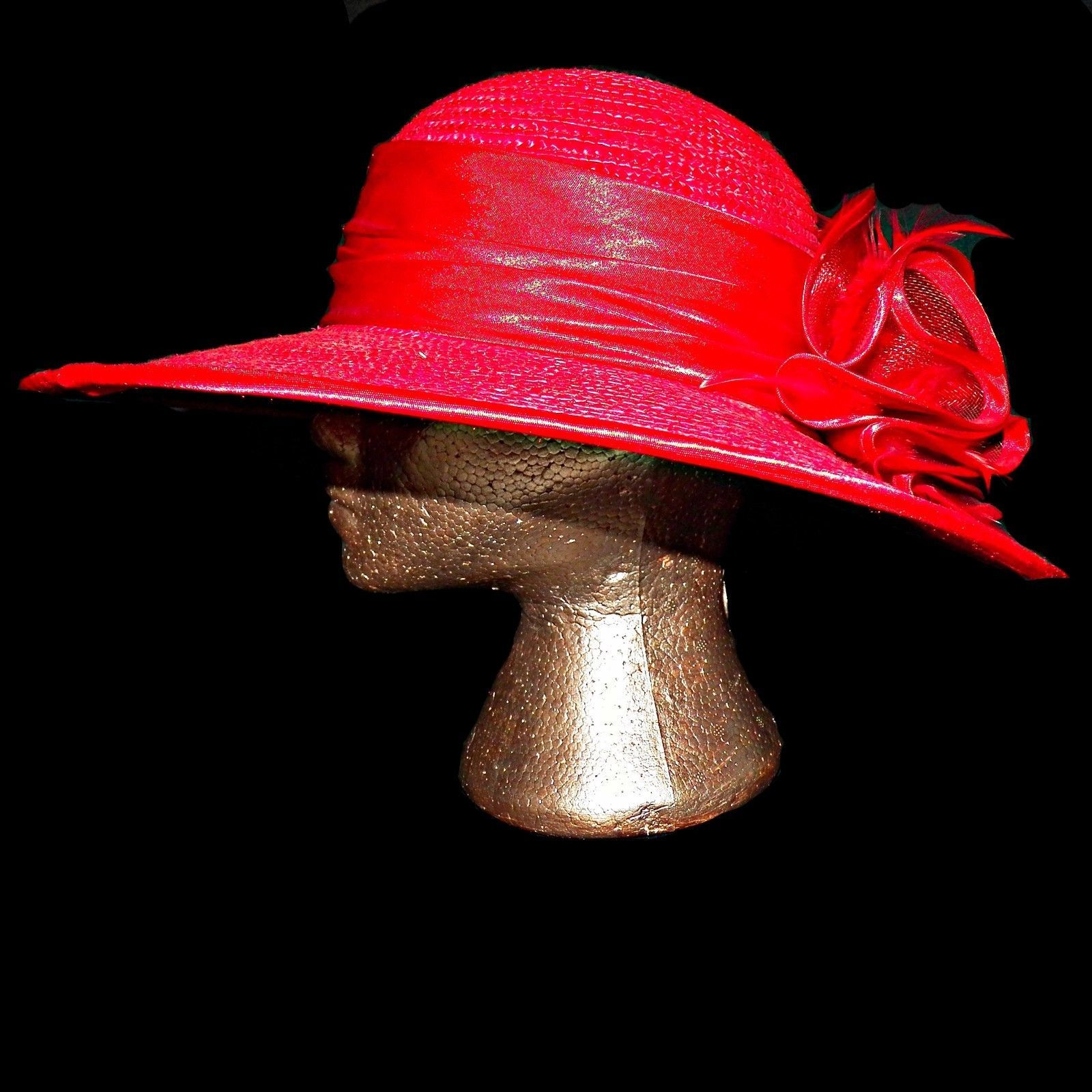 Primary image for Red Straw Feather Bow Capeline Sun Wide Brim Kentucky Derby Chuch Lady Hat sz 7