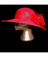 Red Straw Feather Bow Capeline Sun Wide Brim Kentucky Derby Chuch Lady H... - $49.99