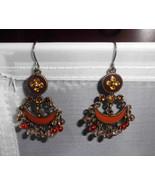 VTG Styled Antiqued Amber Enameled Rhinestone Dangle Beaded Earrings - $19.80