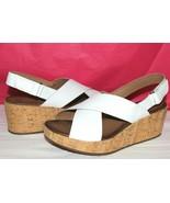 ❤ Clarks Stasha Hale White Leather Cork Wedge Sandal Sabot 12 Wide NEW! L - $44.18