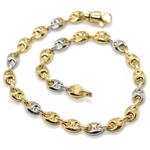 Bracelet Yellow and White Gold 18K 750, Jersey Marina, Marinara 5 mm, Ovals - $706.55