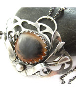 The Wild Necklace - Plume Agate and Sterling Si... - $210.00