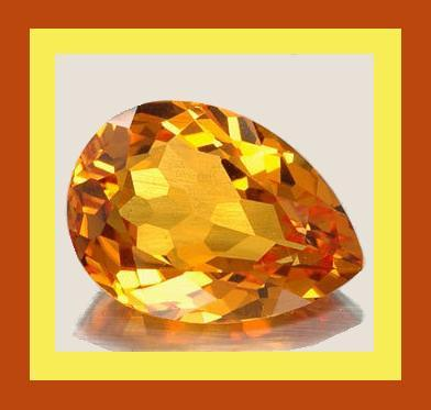 Citrine pear madeira orange 8.36x6.26 1.20ct