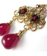 Ms. Ruby Divine - Ruby and Black Diamond Earrings - $287.00