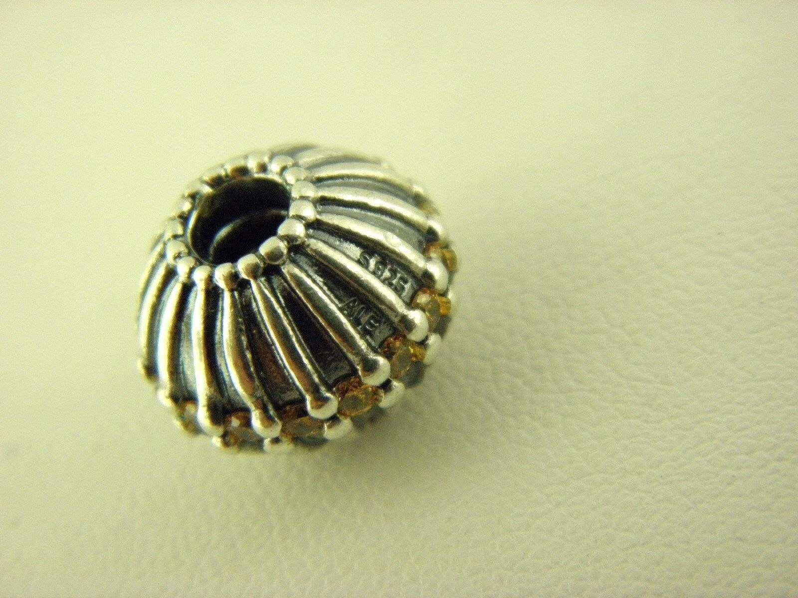 Pandora  ALE Yellow CZ Flower Charm in Sterling Silver