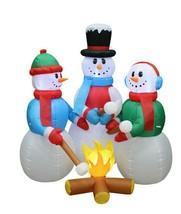 Christmas Inflatable Snowmen Campfire Roast Marshmallows Yard Outdoor De... - $95.00