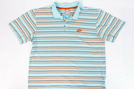 Nike Men's Blue Polo with Stripes Collared Embroidered Size XL - $16.63