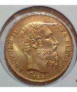 1882 BELGIUM 20 FRANC GOLD COIN, WORLD COIN CAT... - $385.00