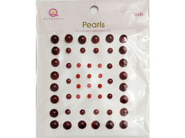Queen & Co Self-Adhesive Pearls, Red, 3 Sizes