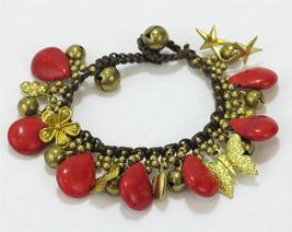 Faux Red Coral Brass Butterfly Flower Stars Brown Cotton Cord Bracelet - $17.99