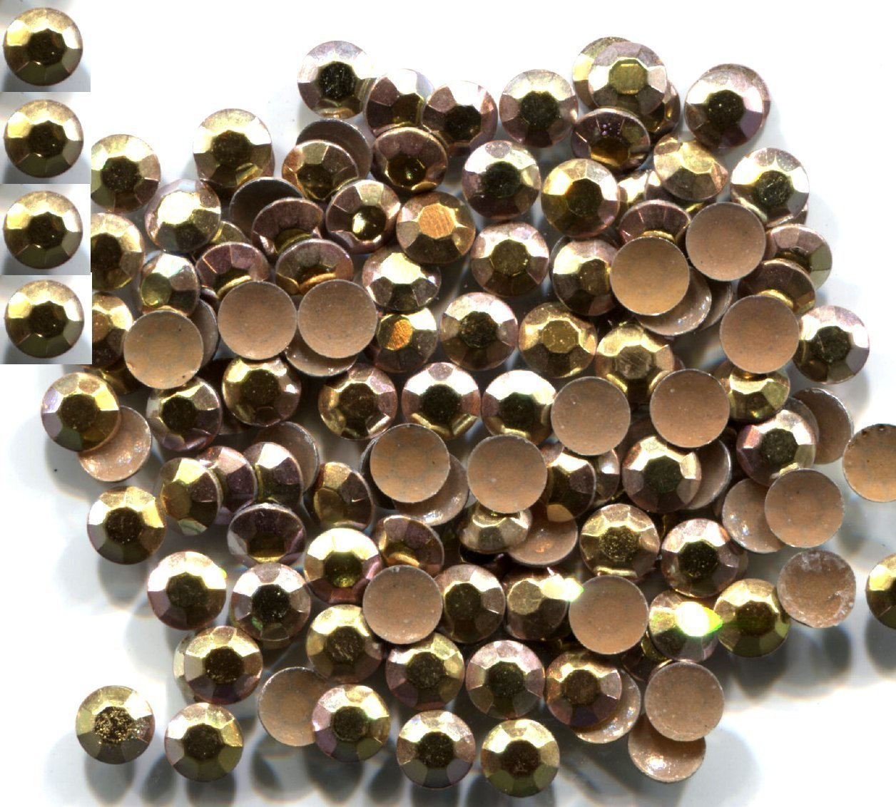 Rhinestuds Faceted Metal AB ICE GOLD 5mm Hot Fix 1 gross