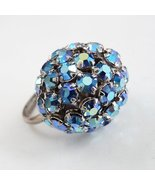 Vintage Blue Domed Rhinestone Ring Aurora Borealis Bling - $39.95