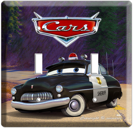 DISNEY CARS 2 SHERIFF POLICE DOUBLE LIGHT SWITCH COVE