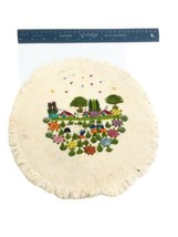 Vintage Needlepoint Spanish Wedding Bride Groom Field  Embroidery - $37.99