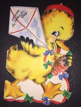 VINTAGE Fathers Day Card Duck With Kite Ribbons By Hallmark 40s - $19.79