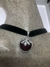 Vintage Ruby Pendant 925 Sterling Silver Choker Necklace - $95.04