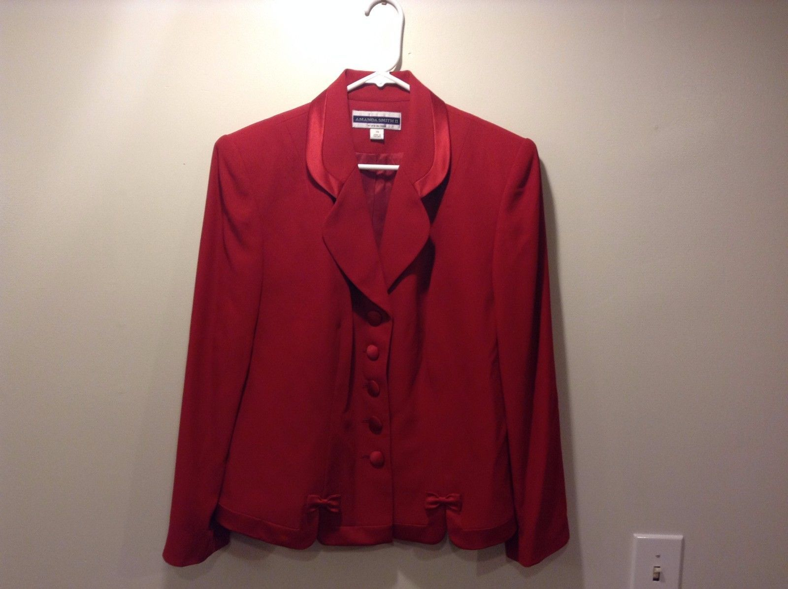 Amanda Smith II Evening Red Button Up Dressy Jacket Coat Sz 14W