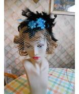 Headband black teal veil net sequin flapper costume - $16.00