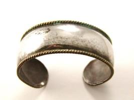 Vintage Mexican Sterling Silver 2 Tone Laton Cuff Bracelet - $94.99