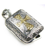 Gerochristo 3349 -Solid 18K Gold & Silver Engraved Rectangular Locket P... - $585.00