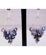 Earrings Silver Color Teardrop Purple Discs Sil... - $7.99
