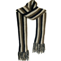 Vintage Handmade Scarf Womens Black Mocha Gray Striped Crochet Fringed W... - $24.32