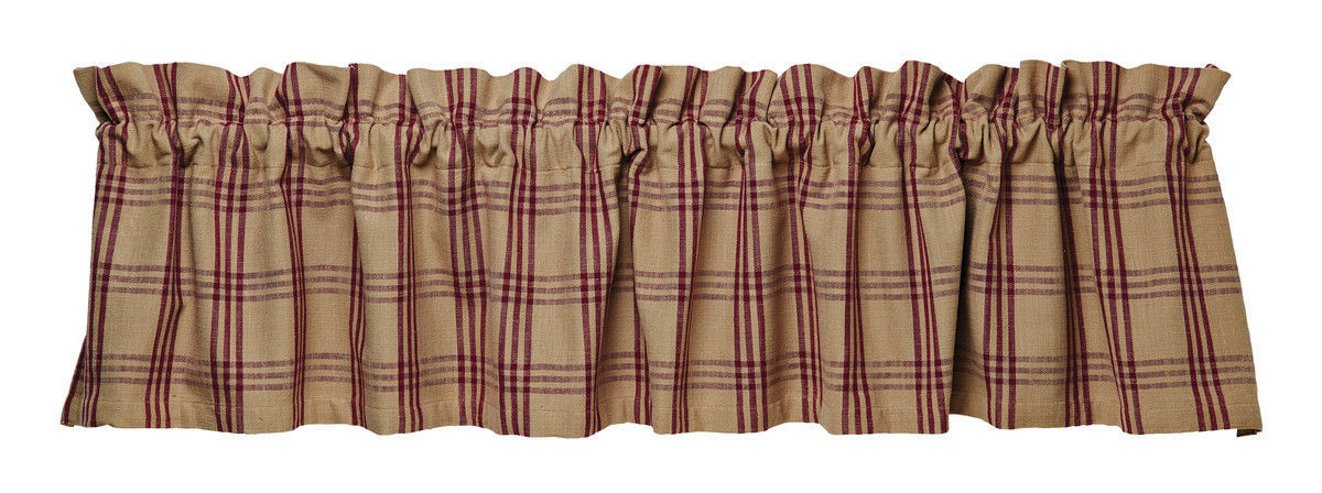 Primary image for country primitive cabin Cottonwood Red burgundy tan plaid fabric VALANCE curtain