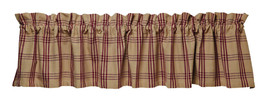 country primitive cabin Cottonwood Red burgundy tan plaid fabric VALANCE... - $29.95
