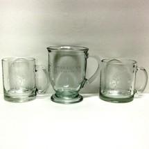 STARBUCKS COFFEE COMPANY LOT (3) CLEAR COFFEE CUPS/MUGS ANCHOR HOCKING E... - $44.88