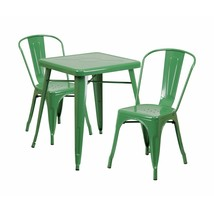 Flash Furniture Green Metal Indoor Outdoor Table Set With 2 Stack Chairs... - $275.10