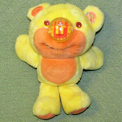 Vintage Playskool NOSY BEAR SURPRISE Yellow 1988 Plush Stuffed Animal Teddy Toy