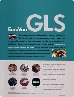 1999 Volkswagen EUROVAN GLS sales brochure sheet US VW 99