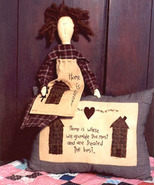 Home Is Best OOP Primitive Stitchery and doll patter - $3.50