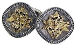 Gerochristo 7104 - Double Headed Eagle -Byzantine Gold & Silver Cufflinks  - $1,120.00