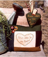 Bloom Where Your Are Planted OOP Primitive Stitchery - $3.50