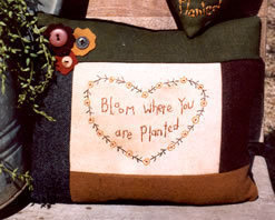 Bloom Where Your Are Planted OOP Primitive Stitchery