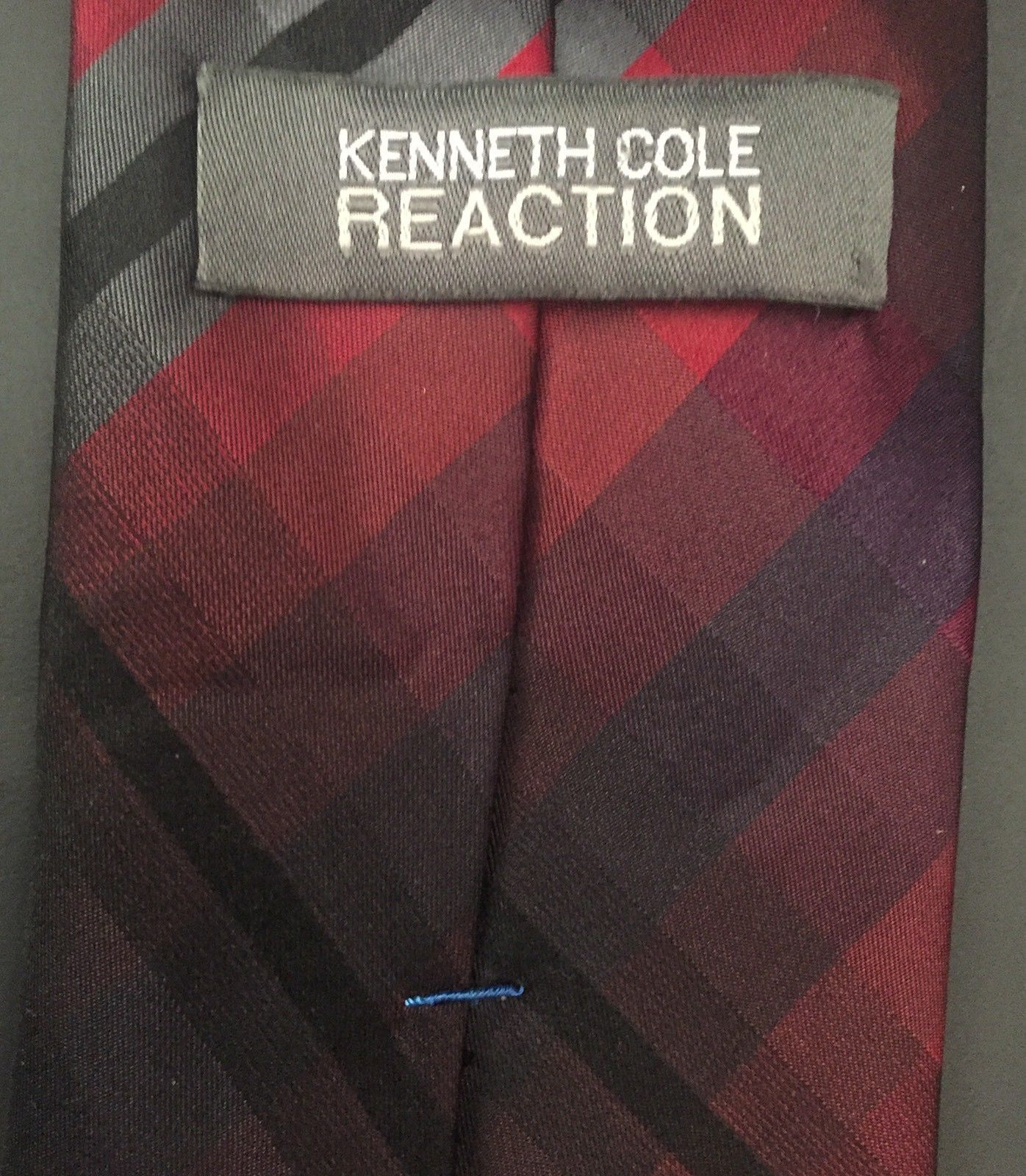 Kenneth Cole Reaction Tie Red Black Gray Cubed Plaid Preppy Necktie Neckwear image 3