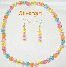Just for Fun Colorful Gold Cord Plastic Beaded Necklace - $9.99