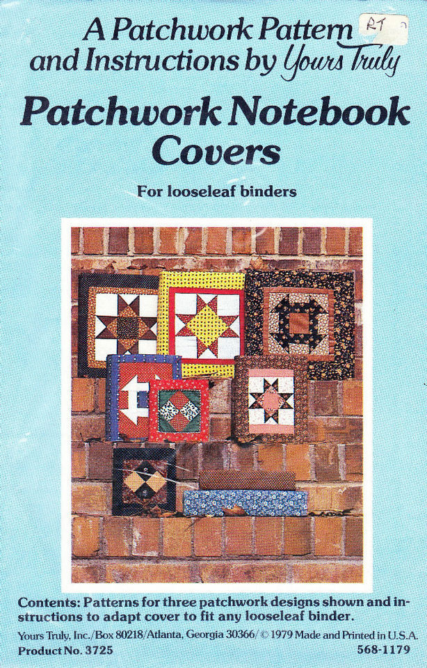 Patchwork Book Cover Pattern : Quilting pattern patchwork notebook covers for looseleaf