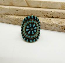 Retro Turquoise Enamel Mandala Flower Antiqued Gold Tone Ring Size 5 1/2... - $13.85