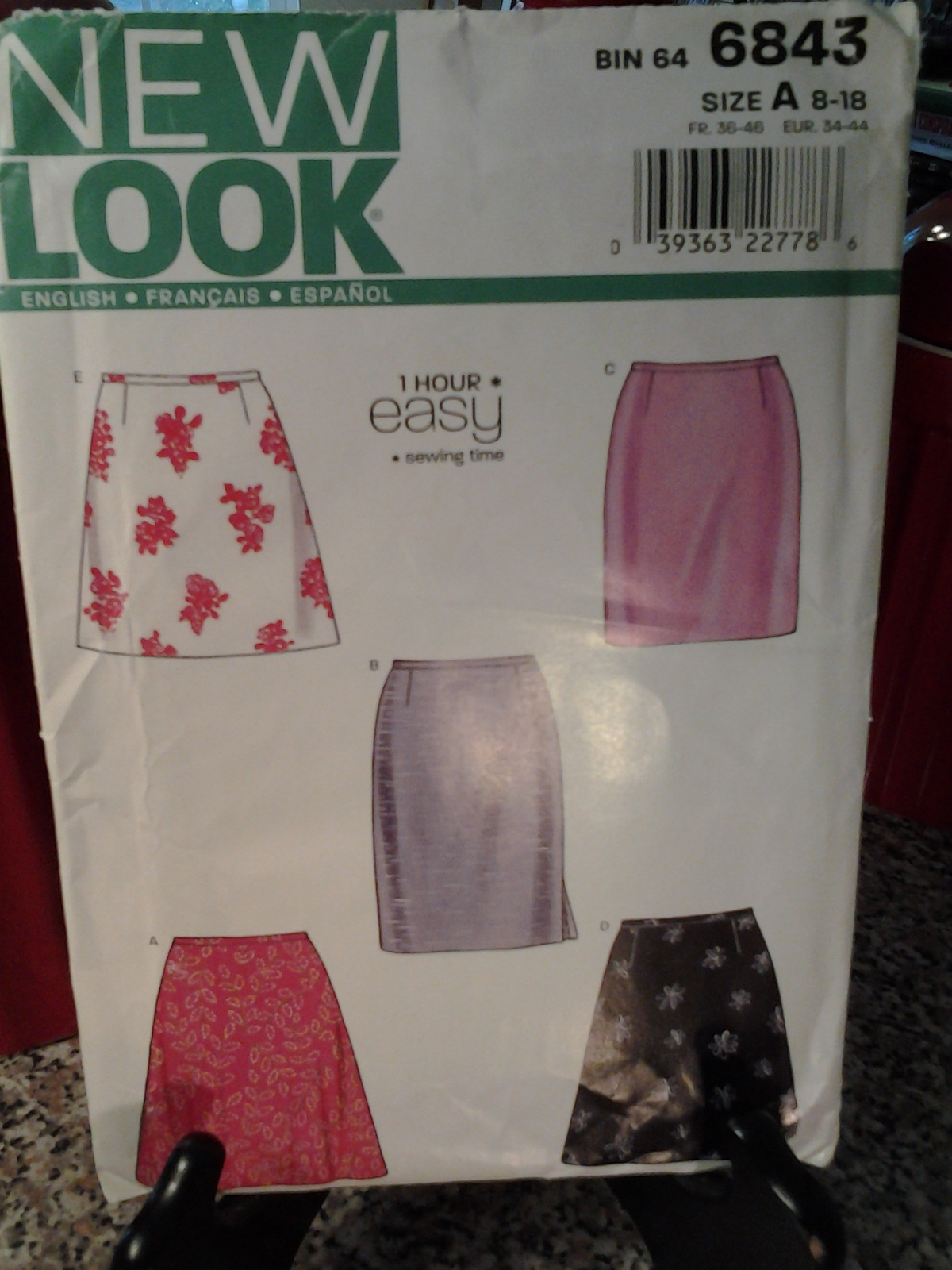 New Look 6843 Misses Skirts 1 hr easy sewing time