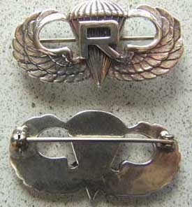 WWII Paratrooper with Rigger  Sterling Pin Back