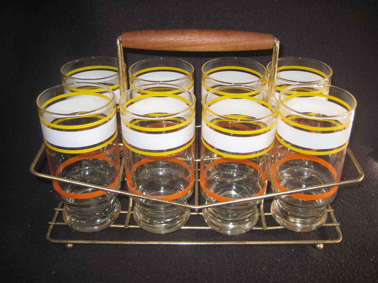 Vintage Glasses with Wire Storage Caddy