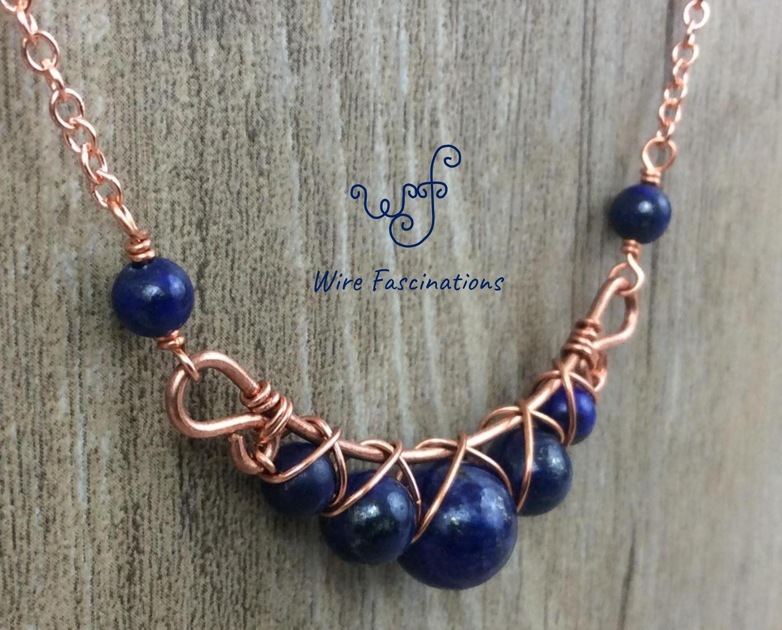 Handmade lapis lazuli necklace: criss cross copper wire wrapped image 2
