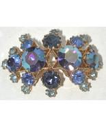 Blue Rhinestone pin/brooch Austria/Austrian large stones goldtone vintage - $29.00