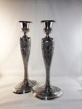 "Stunning 14"" PAIR Silverplate Candleholders Ovoid Stippled Scrolls Leaf ... - $69.00"