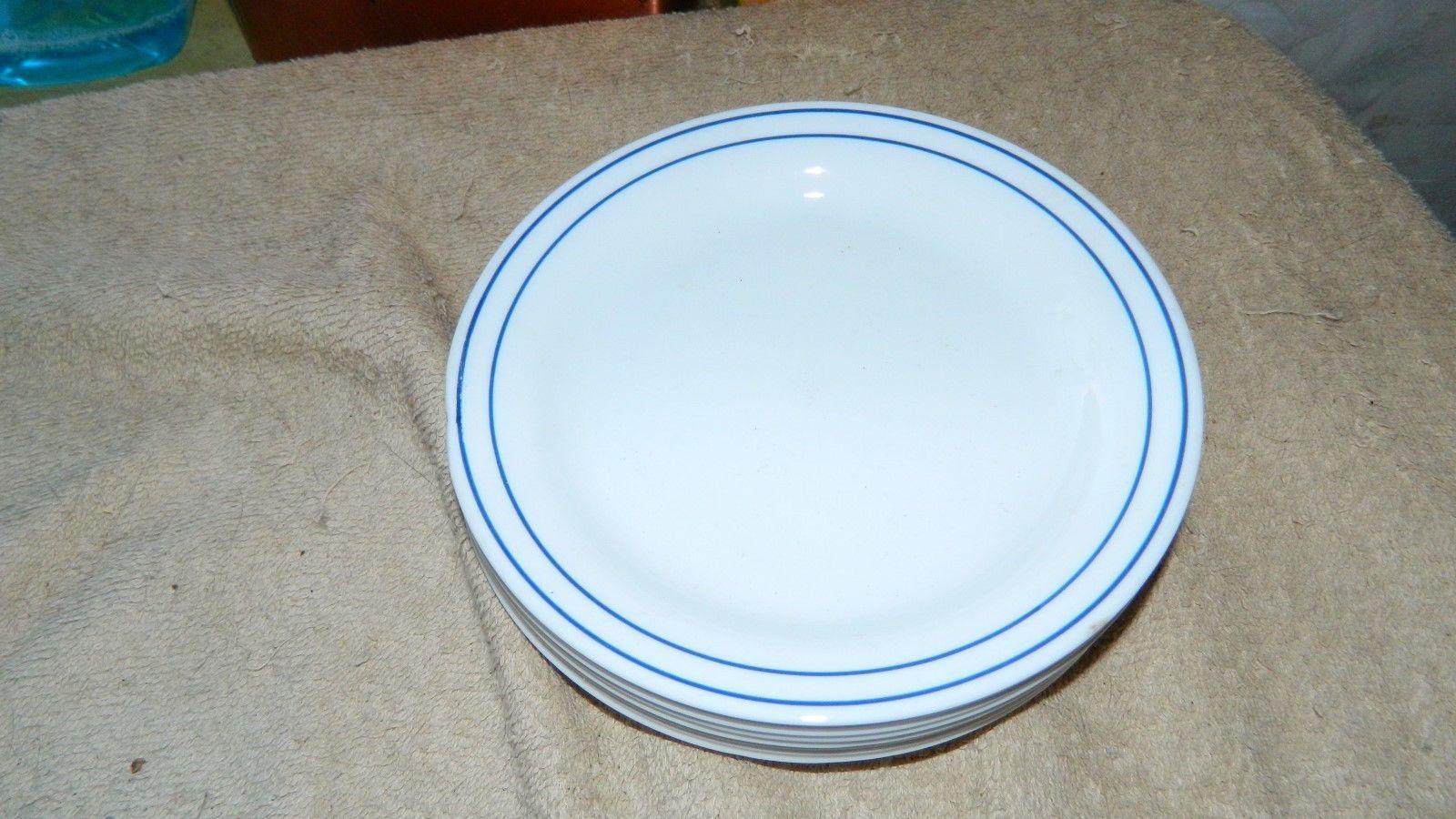 CORELLE WHITE WITH DOUBLE BLUE STRIPES BREAD /DESSERT PLATES x 7 FREE USA SHIP - $28.04
